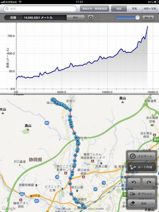 海抜・標高計測 - 断面図作成 ...